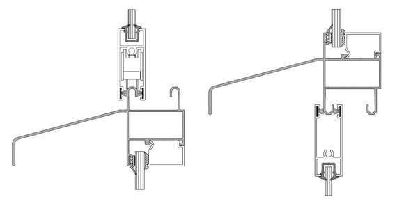 Профили ригелей с  отливами для интеграции в витраж створок раздвижных конструкций