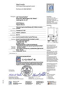 Prüfzeugnis vom Institut IFT Rosenheim Wärmeschutz-Prüfung der Baueinheit des Systems ALUTECH ALT F50