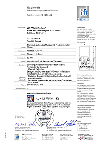 Test certificate for thermotechnical parameters of ALUTECH ALT F50 central section by IFT Rosenheim Institute