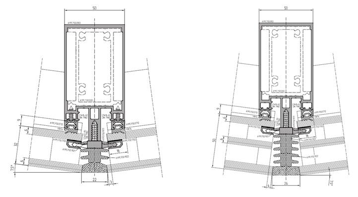 Варианты структурных фасадов с одно- и двухкамерным стеклопакетом.