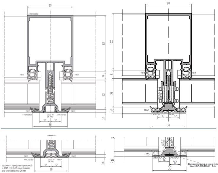 C прижимной планкой F50.1601 и с прижимной планкой F50.1621