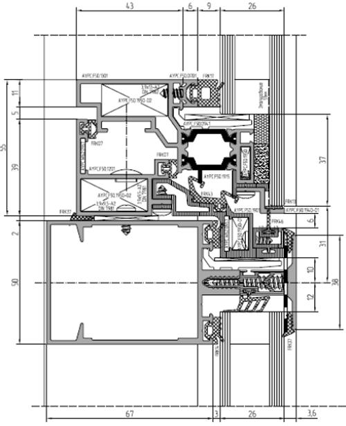 Полуструктурное остекление ALT F50 SSG