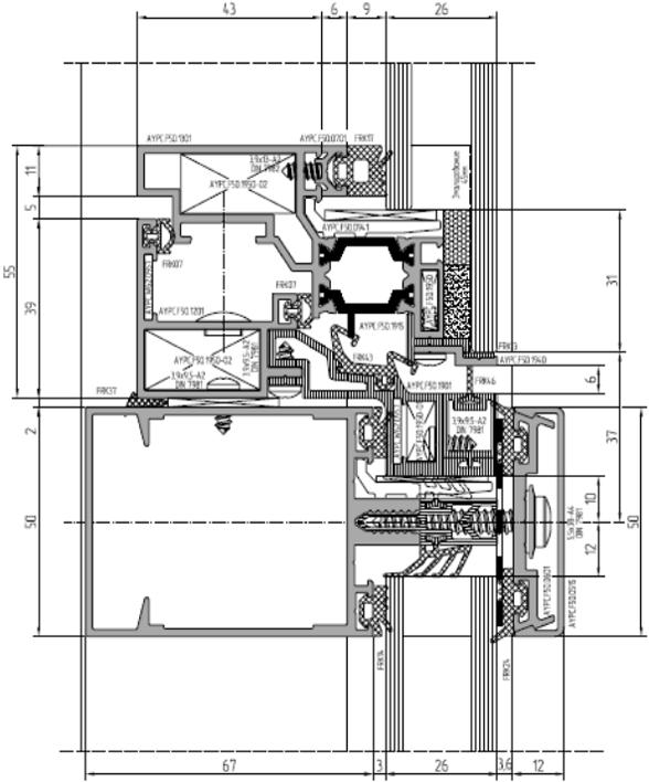 Полуструктурное остекление ALT F50 HL