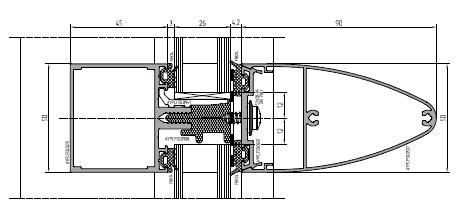 Объемная конфигурация наружного профиля придает фасаду дополнительный объем