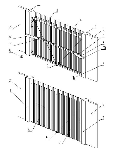Схема конструкции распашных ворот Alutech.  5. упор боковой 6. упор центральный 7. кронштейн...