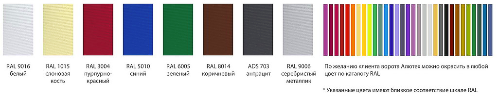 Варианты цветовой гаммы промышленных ворот Алютех