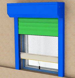 Roller shutter systems with integrated mosquito net