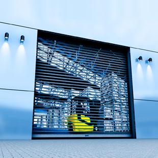 Ворота RapidRoll® 3000 GL оборудованы подвижным фотоэлементом безопасности и стационарным световым барьером в боковых направляющих.