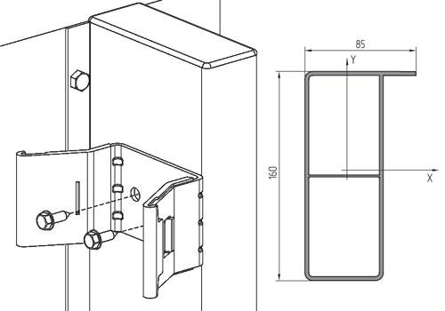 Профиль столба притвора для откатных ворот серии ADS400