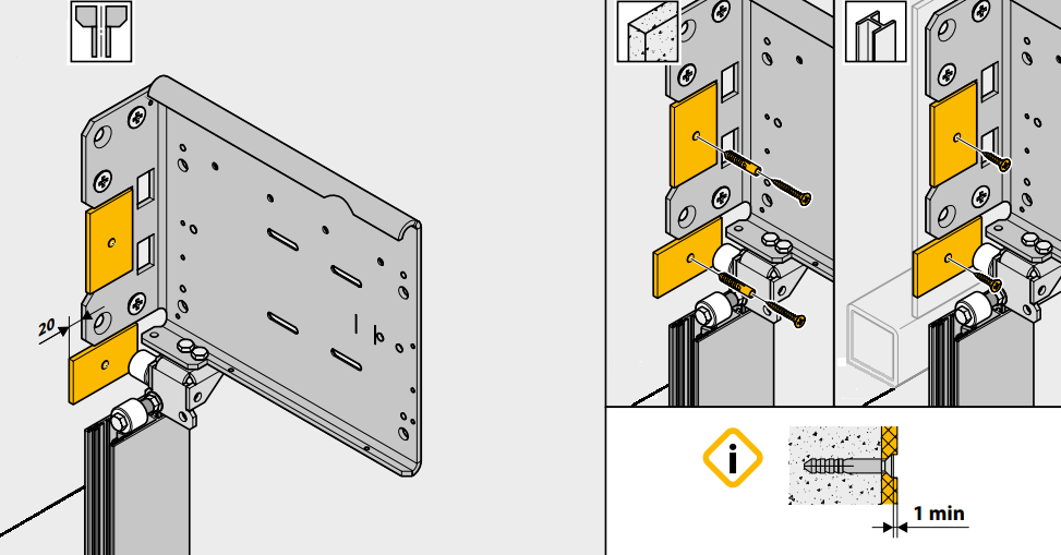 Installation scheme for damper plates included in the kit