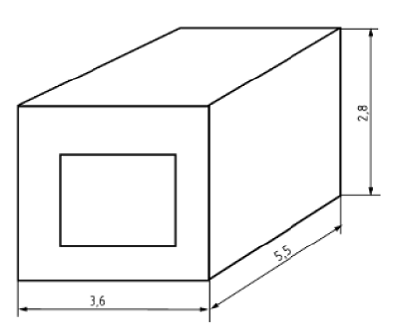 Описание: Модель одной комнаты для имитации энергетических характеристик окна согласно EN 13790