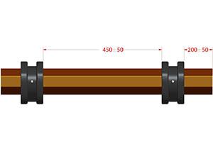 Дистанционные кольца RDS70/77 установить на вал RT70x1,2 с интервалом 450±50мм и на расстоянии 200±50 мм от краев вала