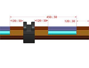 Профили фиксирующие AEG77F установить на вал RT70x1,2 с шагом 450±50 мм, на расстоянии 120±50 мм от дистанционного кольца и краев вала