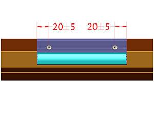 Расстояние от края профиля до центра отверстия под заклепку 20±5 мм